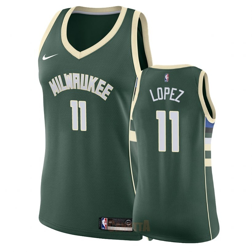 Replica Maglia NBA Donna Milwaukee Bucks NO.11 Brook Lopez Verde Icon 2018