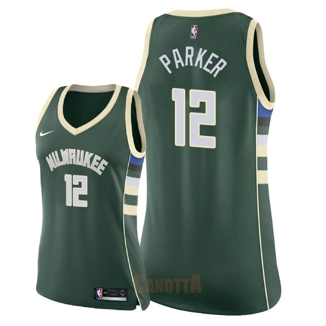 Replica Maglia NBA Donna Milwaukee Bucks NO.12 Jabari Parker Verde Icon 2018