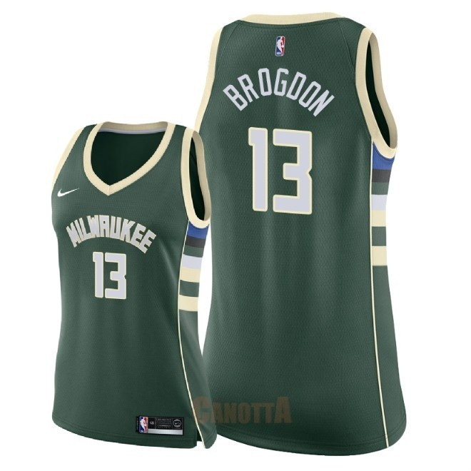 Replica Maglia NBA Donna Milwaukee Bucks NO.13 Malcolm Brogdon Verde Icon 2018