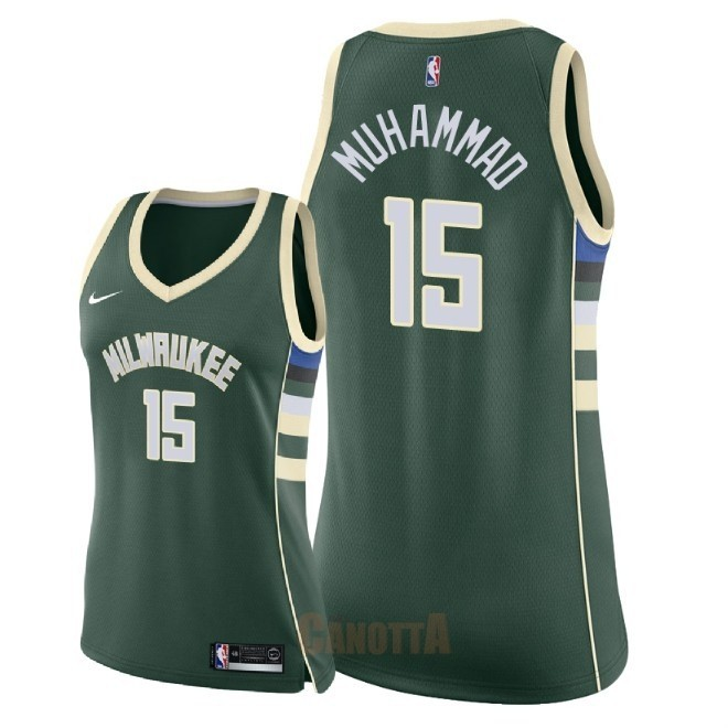 Replica Maglia NBA Donna Milwaukee Bucks NO.15 Shabazz Muhammad Verde Icon 2018