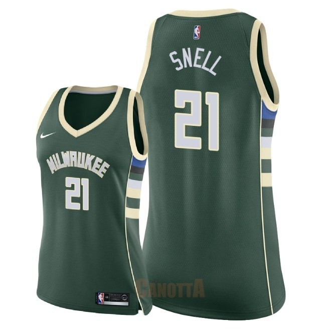 Replica Maglia NBA Donna Milwaukee Bucks NO.21 Tony Snell Verde Icon 2018