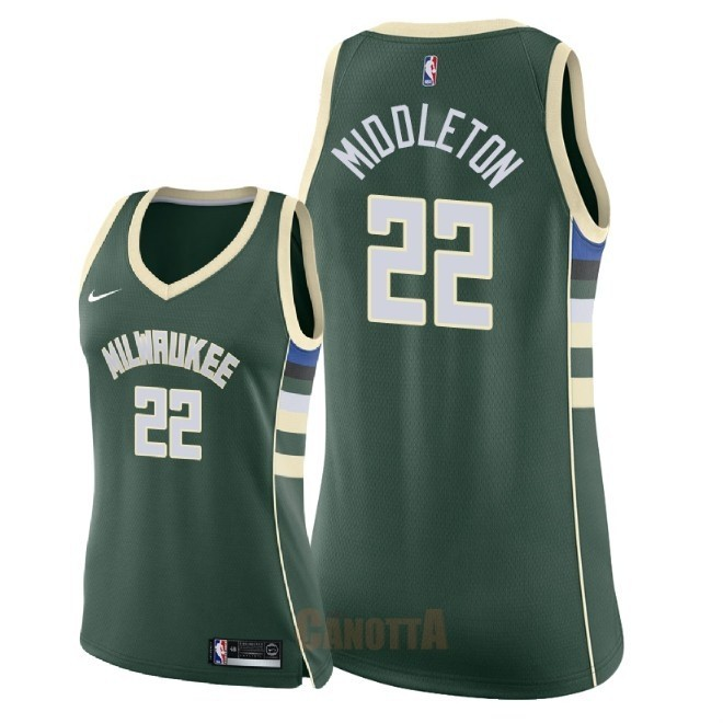 Replica Maglia NBA Donna Milwaukee Bucks NO.22 Khris Middleton Verde Icon 2018