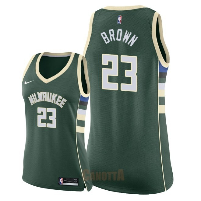 Replica Maglia NBA Donna Milwaukee Bucks NO.23 Sterling Brown Verde Icon 2018