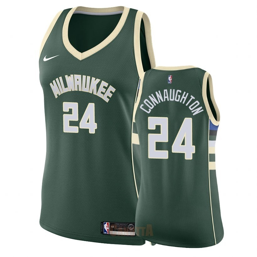 Replica Maglia NBA Donna Milwaukee Bucks NO.24 Pat Connaughton Verde Icon 2018