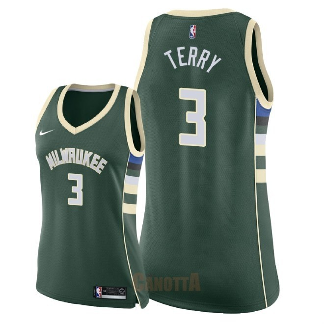 Replica Maglia NBA Donna Milwaukee Bucks NO.3 Jason Terry Verde Icon 2018