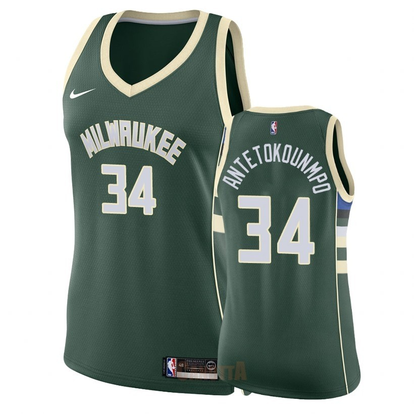 Replica Maglia NBA Donna Milwaukee Bucks NO.34 Giannis Antetokounmpo Verde Icon 2018