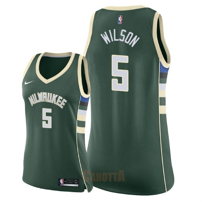 Replica Maglia NBA Donna Milwaukee Bucks NO.5 D.J. Wilson Verde Icon 2018
