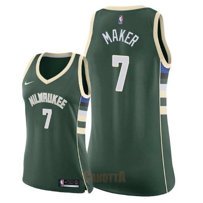 Replica Maglia NBA Donna Milwaukee Bucks NO.7 Thon Maker Verde Icon 2018