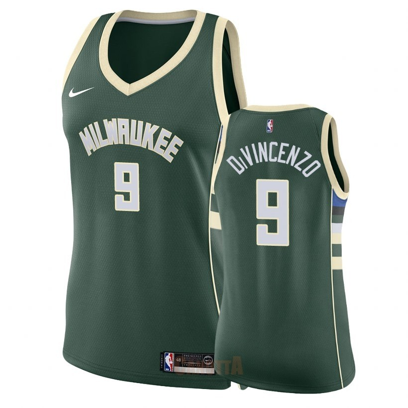 Replica Maglia NBA Donna Milwaukee Bucks NO.9 Donte DiVincenzo Verde Icon 2018