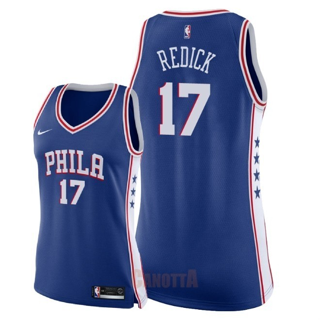 Replica Maglia NBA Donna Philadelphia Sixers NO.17 JJ Redick Blu Icon 2018