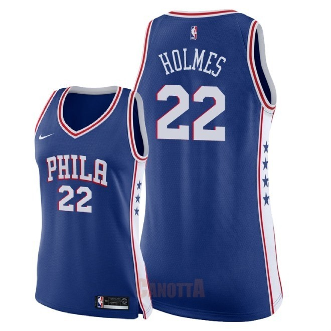 Replica Maglia NBA Donna Philadelphia Sixers NO.22 Richaun Holmes Blu Icon 2018