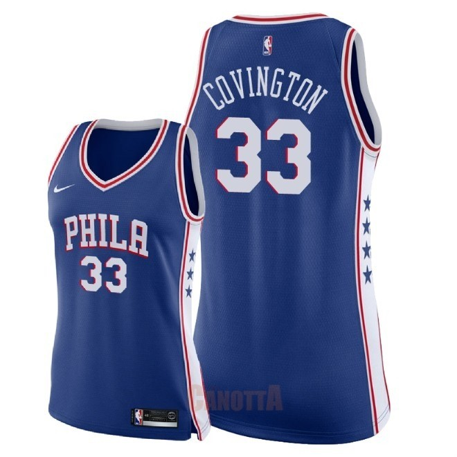 Replica Maglia NBA Donna Philadelphia Sixers NO.33 Robert Covington Blu Icon 2018