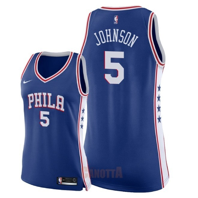 Replica Maglia NBA Donna Philadelphia Sixers NO.5 Amir Johnson Blu Icon 2018