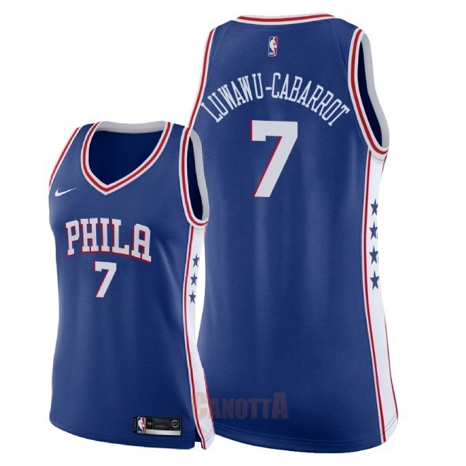 Replica Maglia NBA Donna Philadelphia Sixers NO.7 Timothe Luwawu Cabarrot Blu Icon 2018
