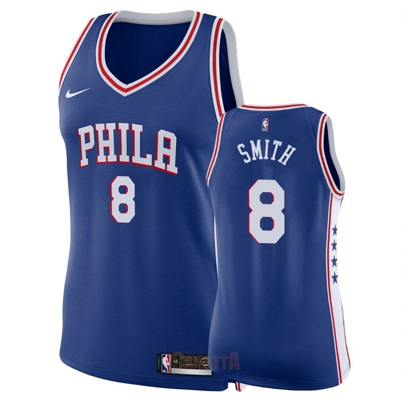 Replica Maglia NBA Donna Philadelphia Sixers NO.8 Zhaire Smith Blu Icon 2018