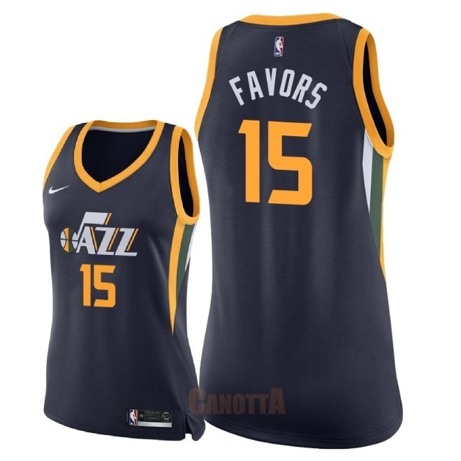 Replica Maglia NBA Donna Utah Jazz NO.15 Derrick Favors Marino Icon 2018