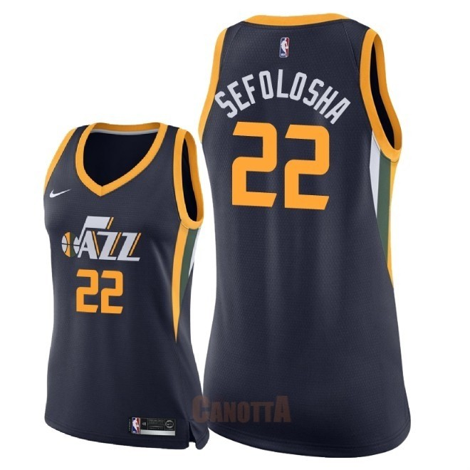 Replica Maglia NBA Donna Utah Jazz NO.22 Thabo Sefolosha Marino Icon 2018