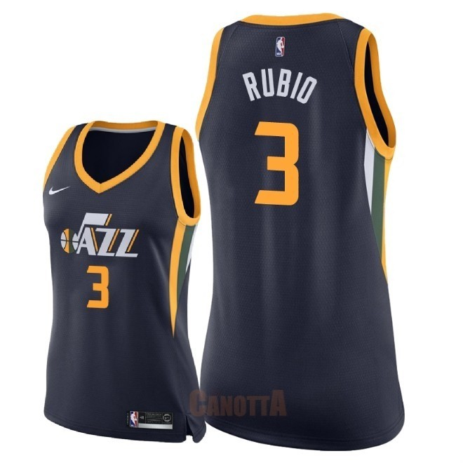 Replica Maglia NBA Donna Utah Jazz NO.3 Ricky Rubio Marino Icon 2018