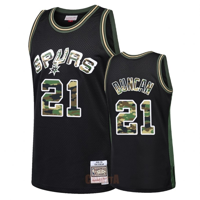 Replica Maglia NBA Dritto Fire Camo San Antonio Spurs NO.21 Tim Duncan Nero 2018