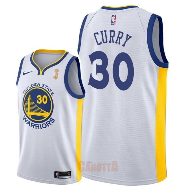 Replica Maglia NBA Golden State Warriors 2018 Campionato Finali NO.30 Stephen Curry Bianco