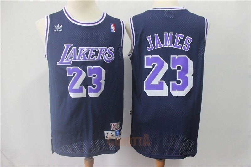 Replica Maglia NBA Los Angeles Lakers NO.23 Lebron James Retro Nero Porpora