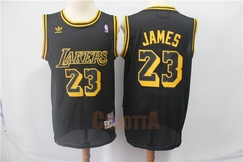 Replica Maglia NBA Los Angeles Lakers NO.23 Lebron James Retro Nero