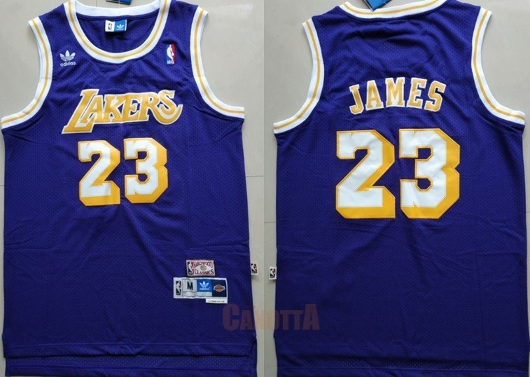Replica Maglia NBA Los Angeles Lakers NO.23 Lebron James Retro Porpora