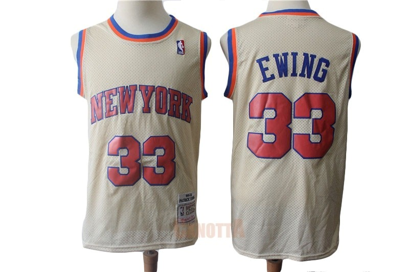 Replica Maglia NBA New York Knicks NO.33 Patrick Ewing Retro Crema 1991-92