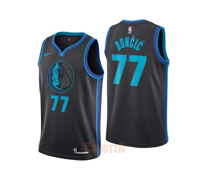 Replica Maglia NBA Nike Dallas Mavericks NO.77 Luka Doncic Nike Antracite Città 2018-19