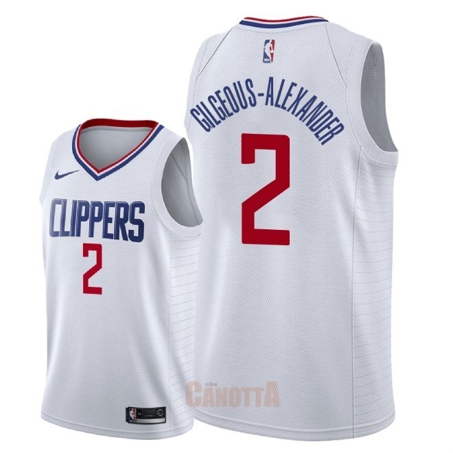 Replica Maglia NBA Nike Los Angeles Clippers NO.2 Shai Gilgeous Alexander Bianco Association 2018