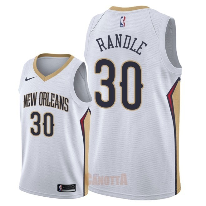 Replica Maglia NBA Nike New Orleans Pelicans NO.30 Julius Randle Bianco Association 2018
