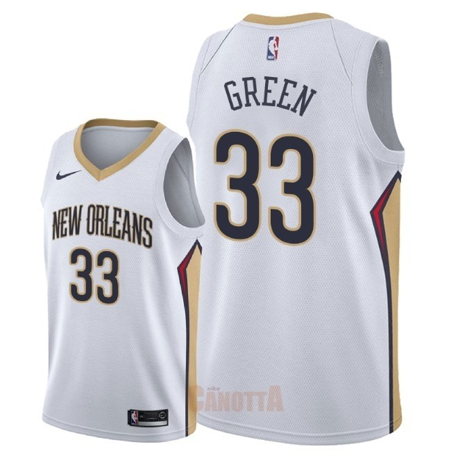 Replica Maglia NBA Nike New Orleans Pelicans NO.33 Garlon Green Bianco Association 2018