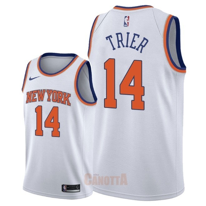 Replica Maglia NBA Nike New York Knicks NO.14 Allonzo Trier Bianco Association 2018