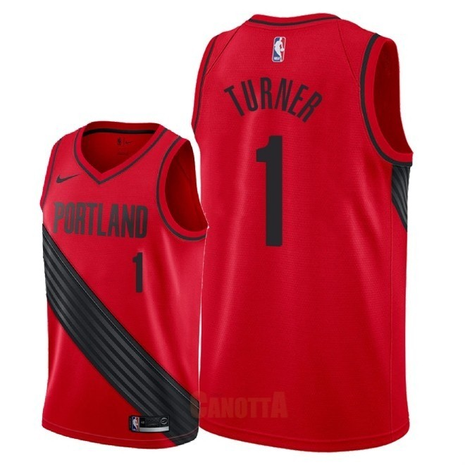 Replica Maglia NBA Nike Portland Trail Blazers NO.1 Evan Turner Rosso Statement 2018