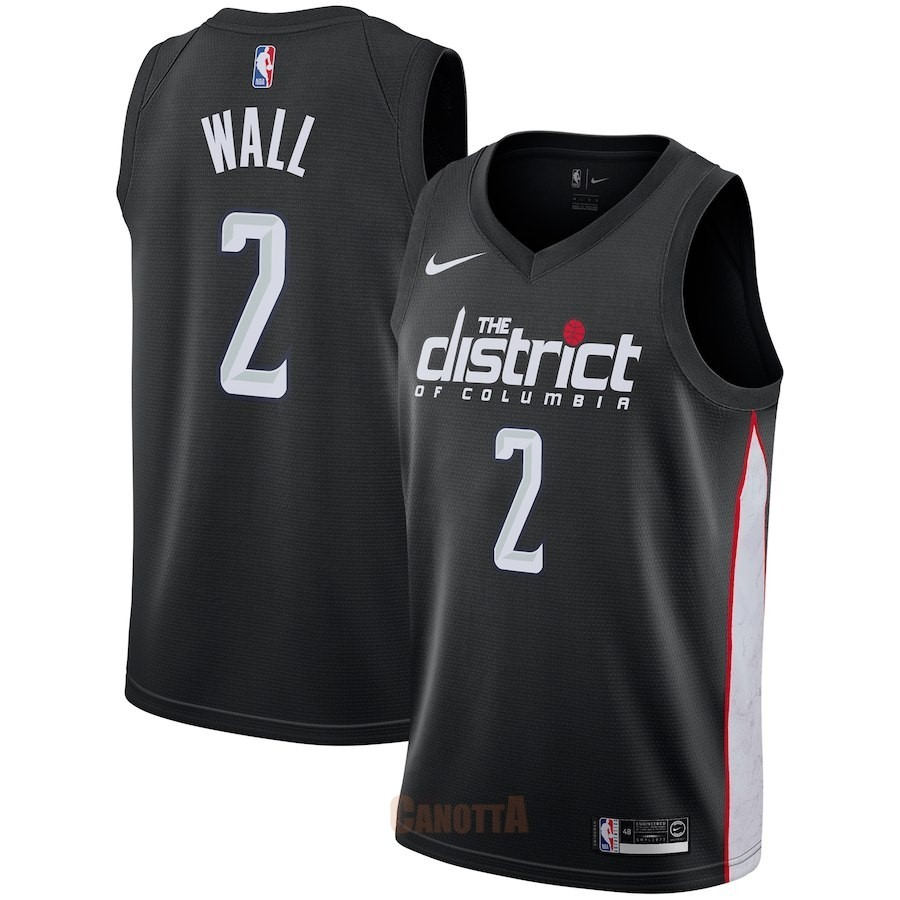 Replica Maglia NBA Nike Washington Wizards NO.2 John Wall Nike Nero Città 2018-19