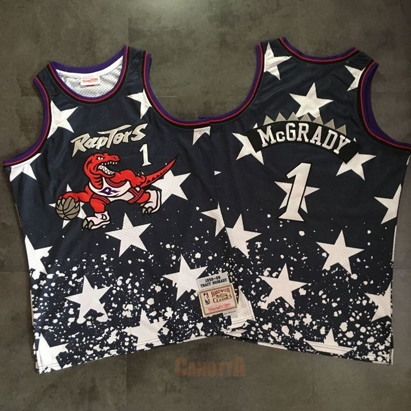 Replica Maglia NBA Toronto Raptors NO.1 Tracy McGrady Retro Nero AU