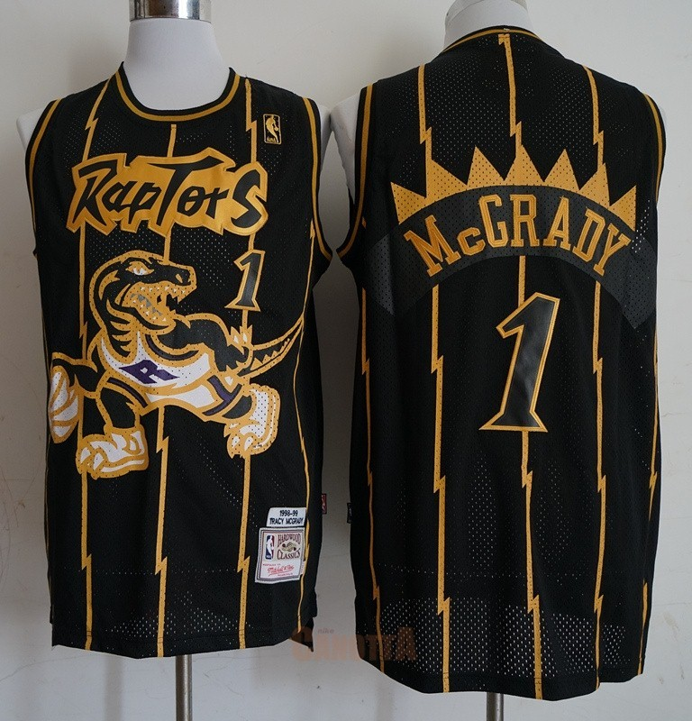 Replica Maglia NBA Toronto Raptors NO.1 Tracy McGrady Retro Oro Nero 1998-99