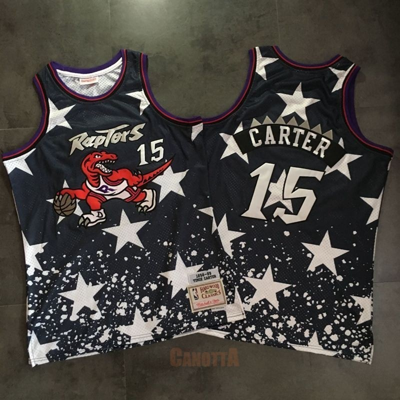 Replica Maglia NBA Toronto Raptors NO.15 Vince Carter Retro Nero AU