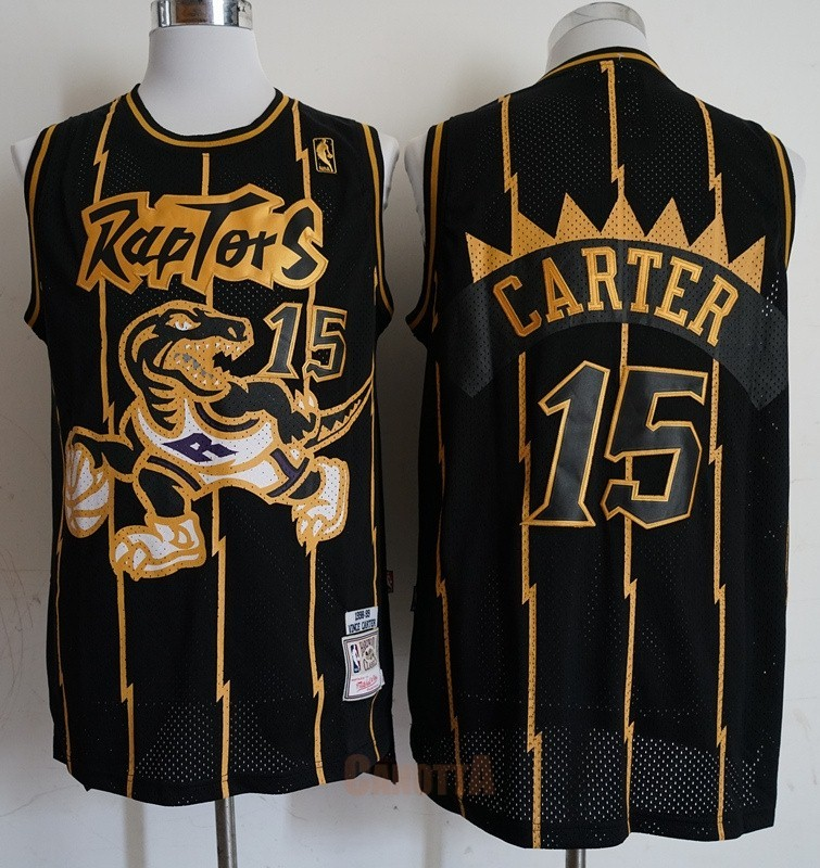 Replica Maglia NBA Toronto Raptors NO.15 Vince Carter Retro Oro Nero 1998-99