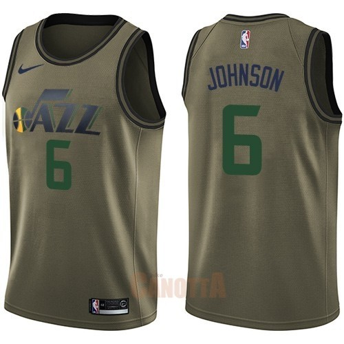 Replica Maglia NBA Utah Jazz Servizio Di Saluto NO.6 Joe Johnson Nike Army Green 2018