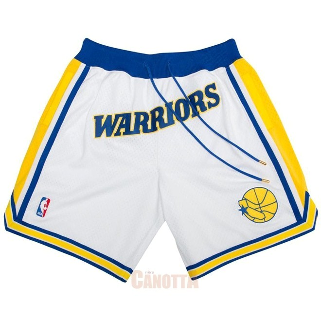 Replica Pantaloni Basket Golden State Warriors Nike Retro Bianco 2018