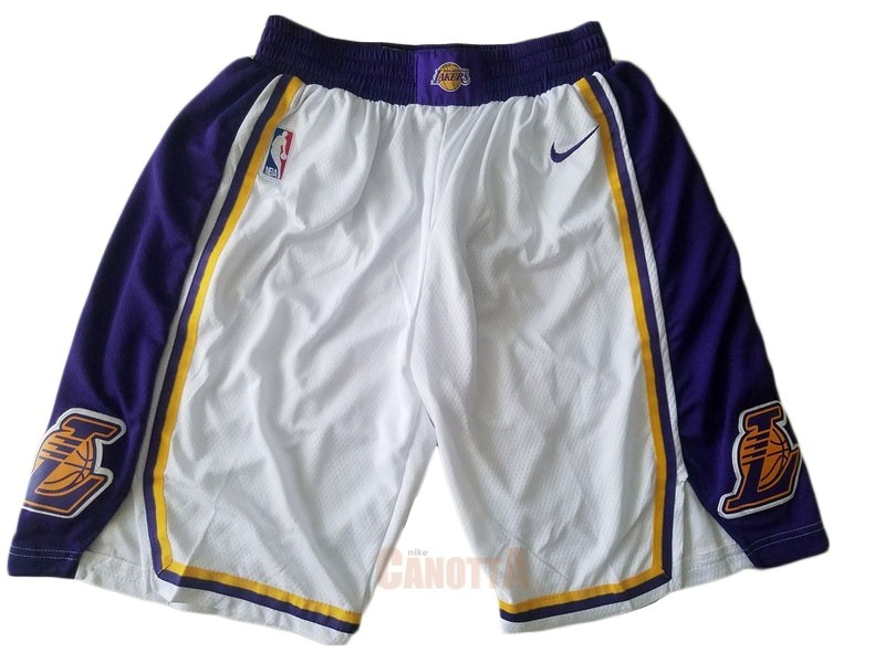 Replica Pantaloni Basket Los Angeles Lakers Nike Bianco 2018-19