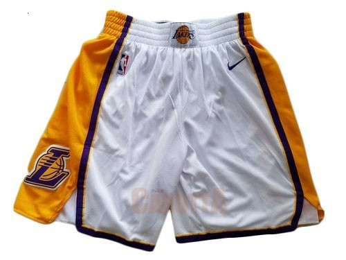 Replica Pantaloni Basket Los Angeles Lakers Nike Bianco 2018