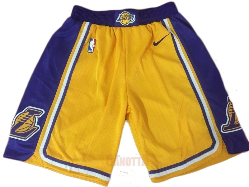 Replica Pantaloni Basket Los Angeles Lakers Nike Giallo 2018-19