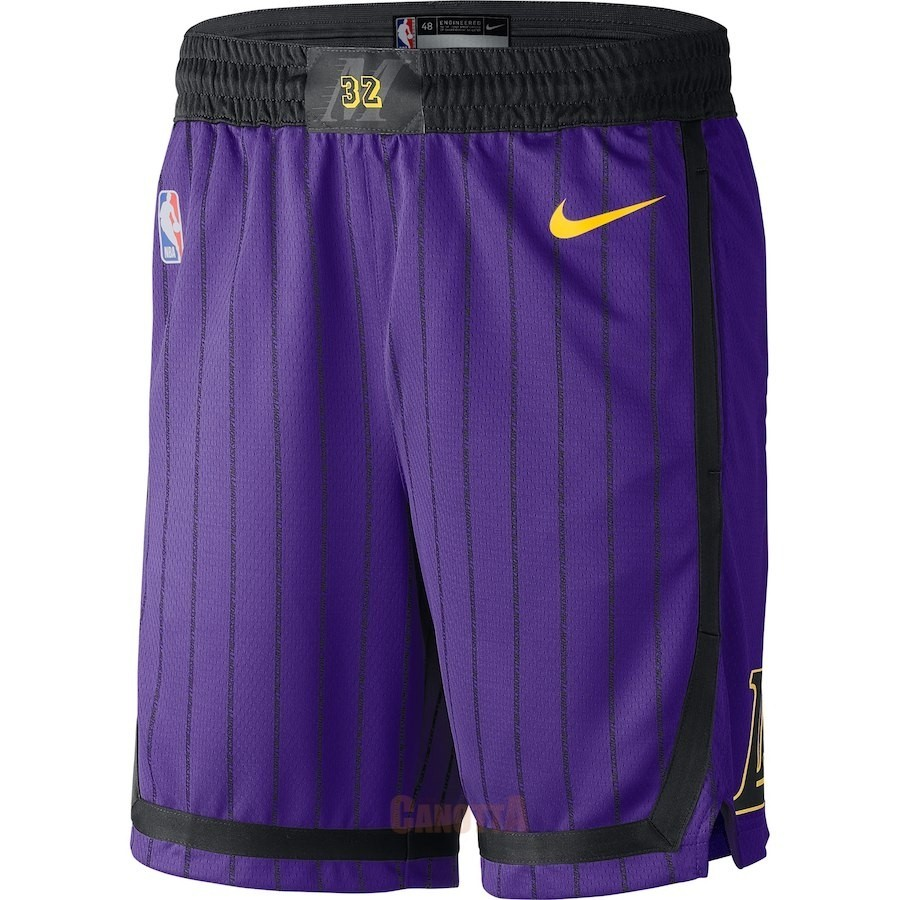 Replica Pantaloni Basket Los Angeles Lakers Nike Porpora Città 2018-19