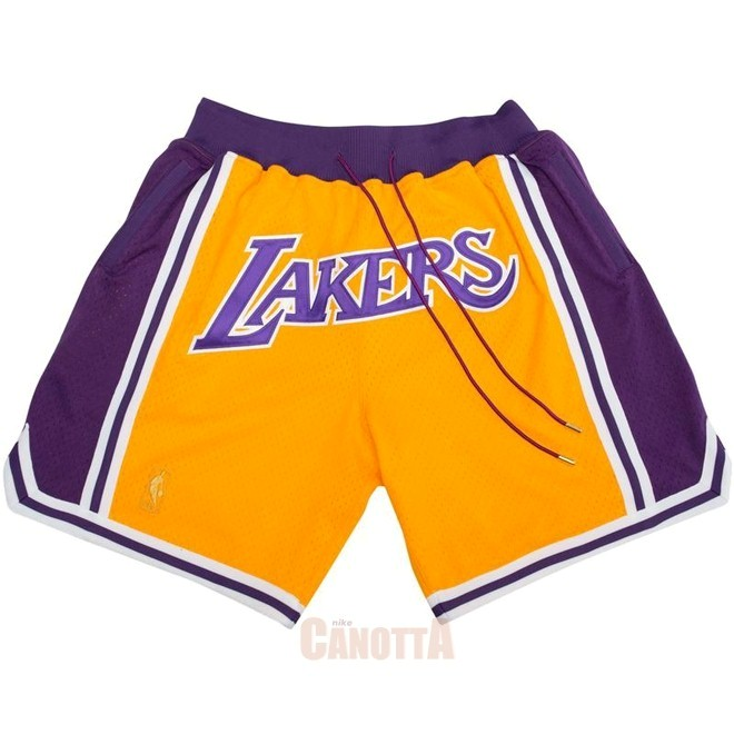 Replica Pantaloni Basket Los Angeles Lakers Nike Retro Giallo 2018