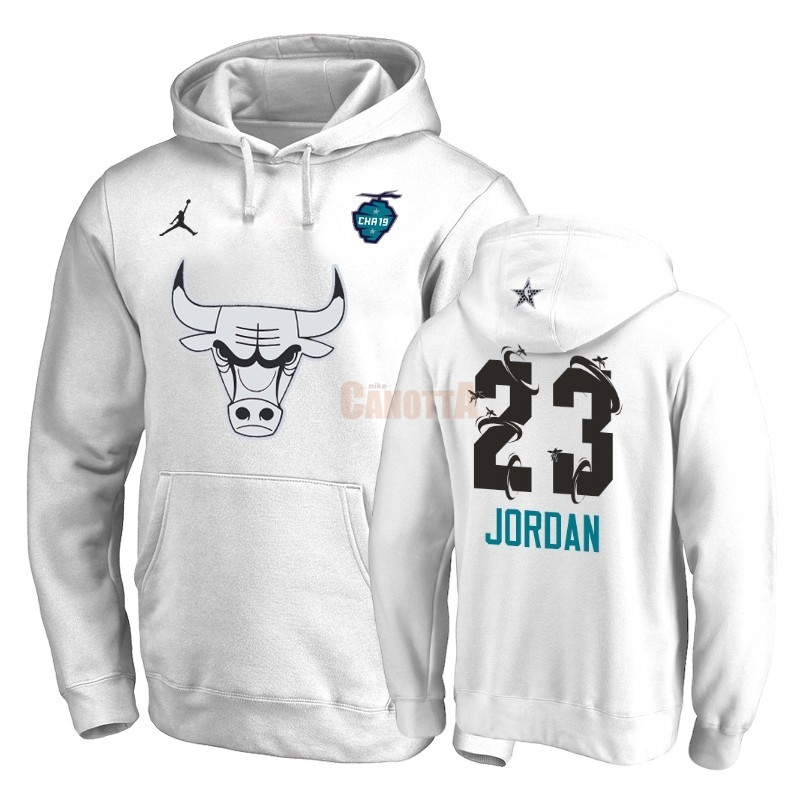 Replica Felpe Con Cappuccio NBA 2019 All Star Chicago Bulls NO.23 Michael Jordan Bianco