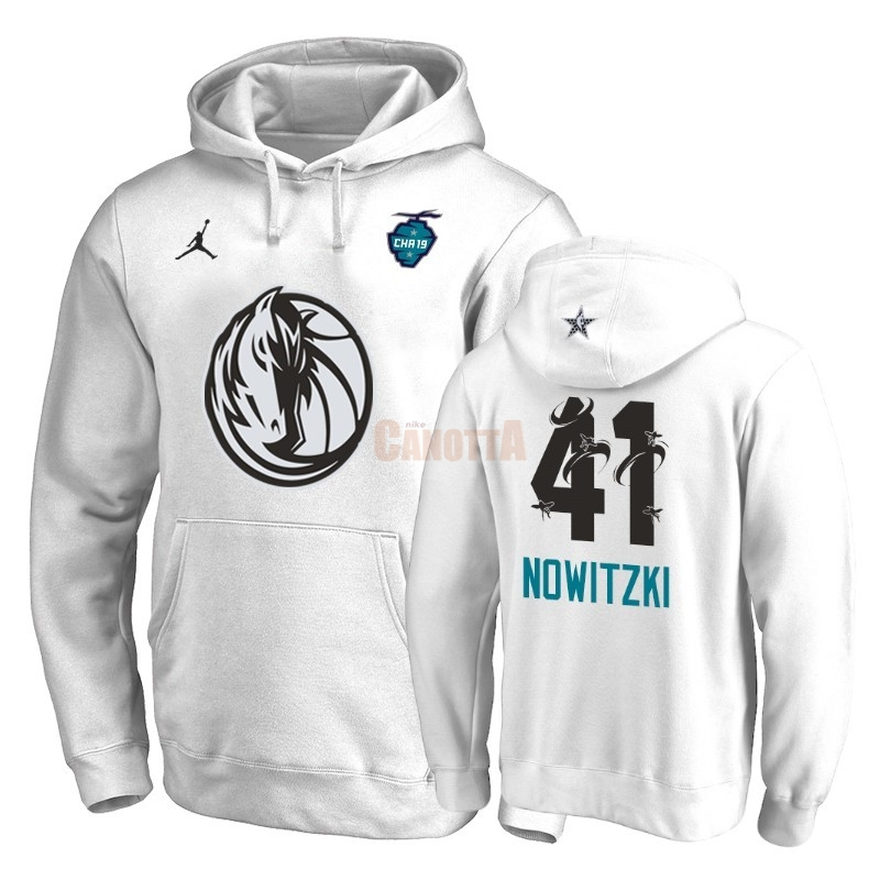 Replica Felpe Con Cappuccio NBA 2019 All Star Dallas Mavericks NO.41 Dirk Nowitzki Bianco
