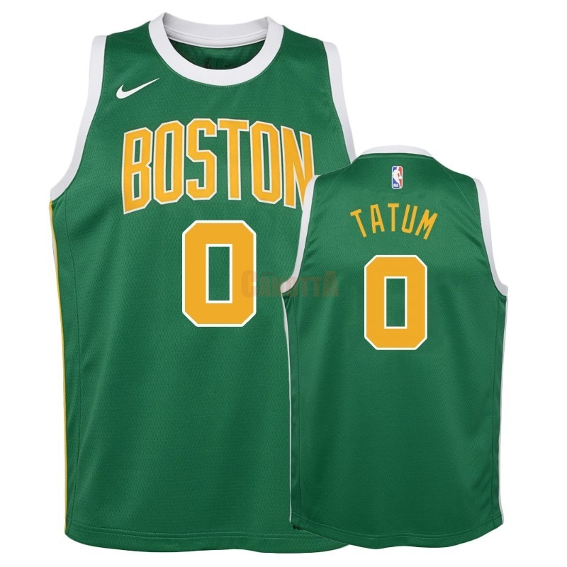 Replica Maglia NBA Bambino Earned Edition Boston Celtics NO.0 Jayson Tatum Verde 2018-19