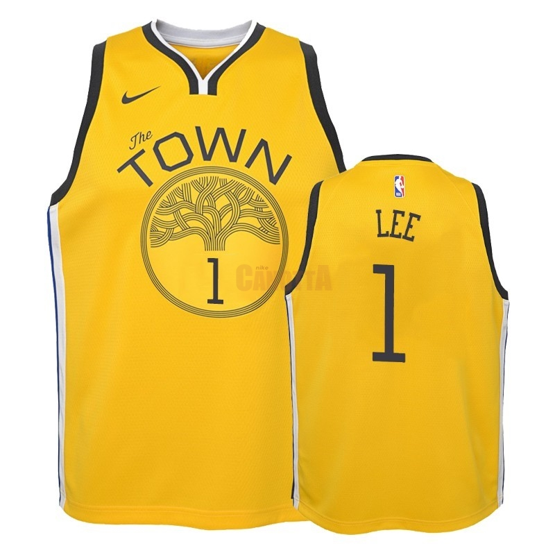 Replica Maglia NBA Bambino Earned Edition Golden State Warriors NO.1 Damion Lee Giallo 2018-19